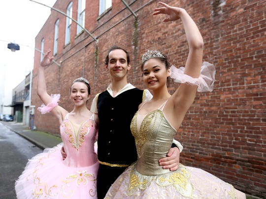 Sarah Franklin, Peter Karakay and Jasmine Mong invite people to see the Premiere Academy of Performing Arts' production of the Nutcracker at Chemeketa Community College Dec. 16-18.