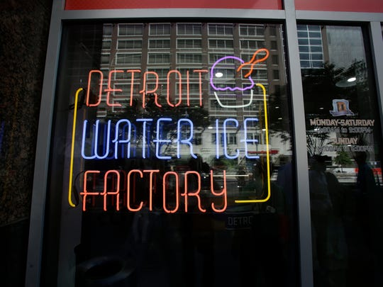 The Detroit Water Ice Factory opened its doors on Tuesday, August 4, 2015 in downtown Detroit in the Compuware building. The Water Ice Factory is a partnership between Mitch Albom's S.A.Y. Detroit family of charities. All profits will go to help fellow Detroiters  Diane Weiss/Detroit Free Press