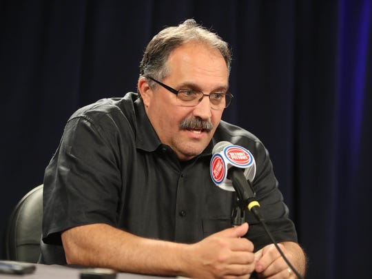 Pistons head coach Stan Van Gundy talks with reporters about selecting Luke Kennard with the 12th pick in the NBA draft June 22, 2017 at the Palace of Auburn Hills.