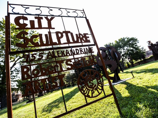 City Sculpture park is where Robert Sestok keeps his works of art in Midtown Detroit, photographed on Sunday, Aug. 20, 2017.