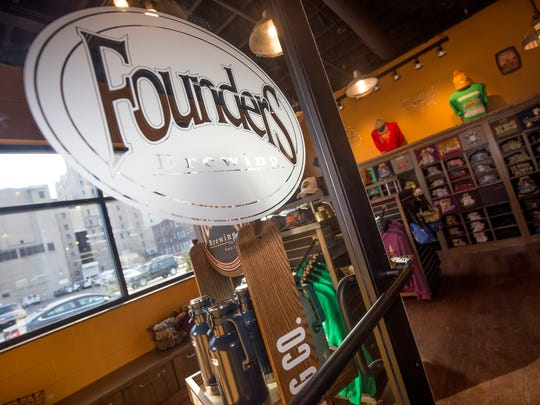 The gift store at Founders Brewing Co. Detroit taproom