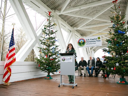 U.S. Forest Service Ranger Nikki Swanson announces that Oregon has been selected to provide the 2018 United States Capitol Christmas Tree on Friday, Jan. 19, 2018, in Sweet Home, Oregon. The tree, which needs to be between 60-85 feet tall, will be cut from the Sweet Home Ranger District.