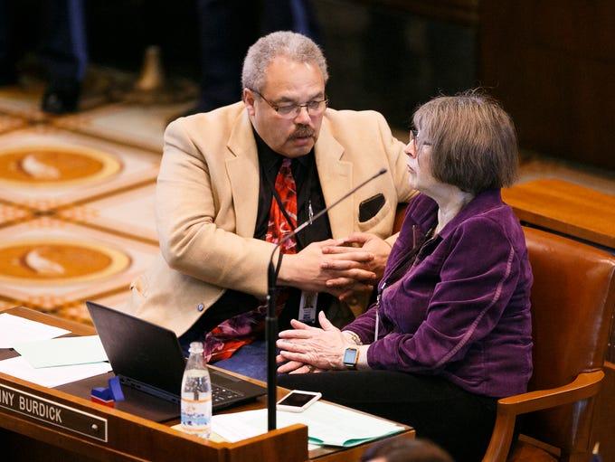 Senators Ginny Burdick, D-Portland, and Lew Frederick,