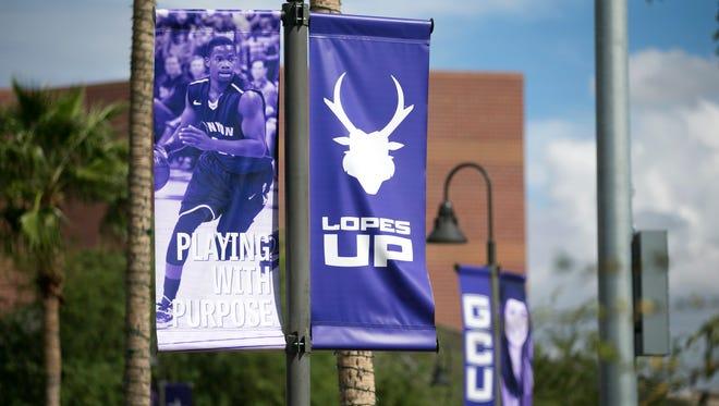 Grand Canyon University basketball signage at Grand Canyon University in Phoenix on Thursday, October 9, 2014.