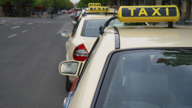 Taxis waiting in line in Berlin.