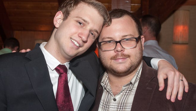 Brad O'Conner, right, 27, of Pittsfield Township and his husband Nathan Furey, 22