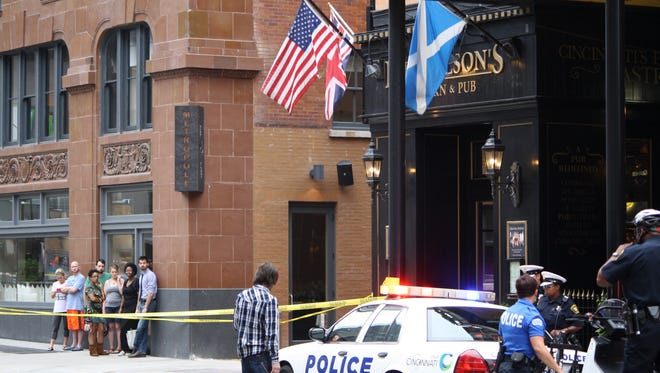 A man was shot in the 600 block of Walnut Street Sunday evening. He was later located inside the Horse and Barrel bar.