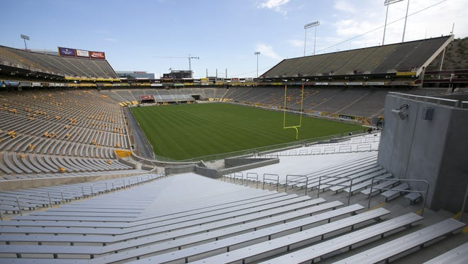 """Sun Devil Stadium's seating capacity for this season is 64,248. The new student section in the south end zone, half of the """"Double Inferno,"""" was constructed this summer, the first phase of a three-year renovation plan."""