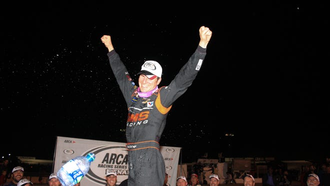Alabama native Grant Enfinger celebrates after winning Saturday's ARCA Fall Classic at Salem Speedway.