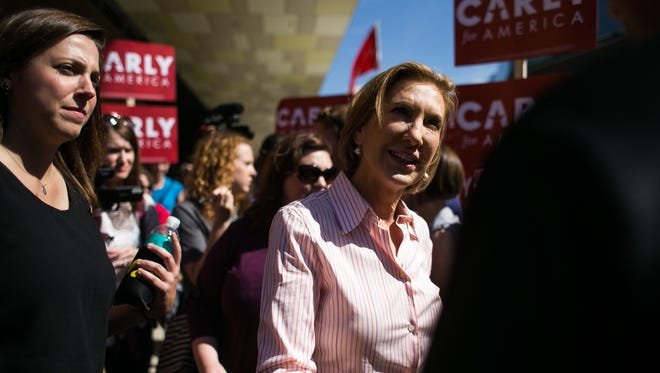Republican Presidential hopeful Carly Fiorina  attends the Iowa Hawkeyes tailgate before their game in against North Texas on Saturday, September 26, 2015.