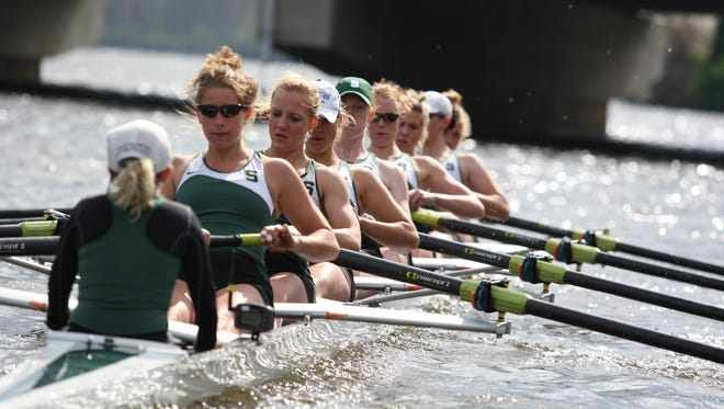 Michigan State's varsity eight, seen in this 2010 file photo, finished 10th at the Head of the Charles Regatta. The program is now without coaches after interim head coach Samantha Sarff and assistant coaches Liz England and Mackenzie Whiteside announced plans to take jobs elsewhere.