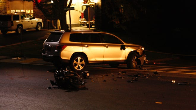 Police were investigating a crash between a motorcycle and a Toyota SUV during the afternoon and evening at the intersection of Weaver Street and Hillcrest Avenue.