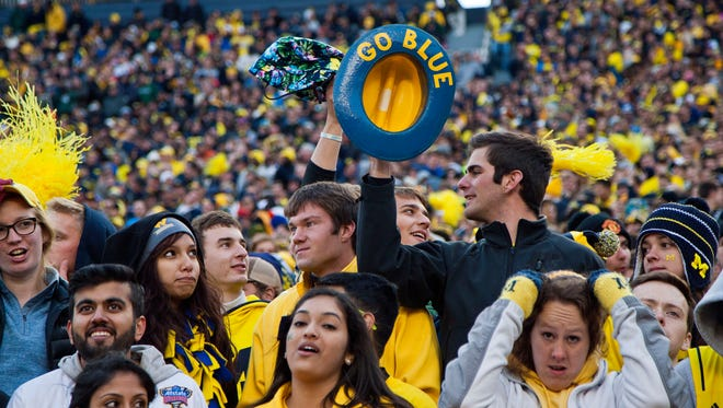 Fans in the Michigan Stadium student section watch a game against Michigan State in Ann Arbor on Oct. 17, 2015.