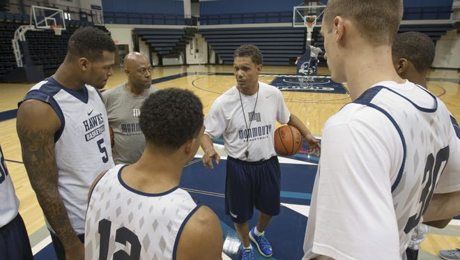 Monmouth University men's basketball practice. Monmouth head coach King Rice talks to his team  -October 5, 2015-West Long Branch, NJ.-Staff photographer/Bob Bielk/Asbury Park Press