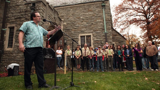 Guest speaker Gregory King of Boonton speaks at the opening ceremony for the annual Project Homeless Connect at St. Peter's Episcopal Church in Morristown, where the homeless can receive free services, clothing, and assistance. November 5, 2015, Morristown, NJ.