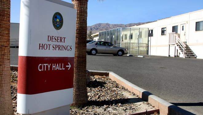 Desert Hot Springs City Hall. Officials are holding off on a move to extend or replace two tax measures that supply about one-third of the city's general budget.