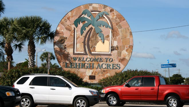 A welcome sign sits at Homestead Road and Lee Boulevard in Lehigh Acres.
