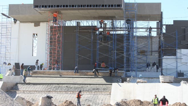Work continues Friday at the site where Pope Francis will celebrate Mass on Feb. 17 in Juárez.