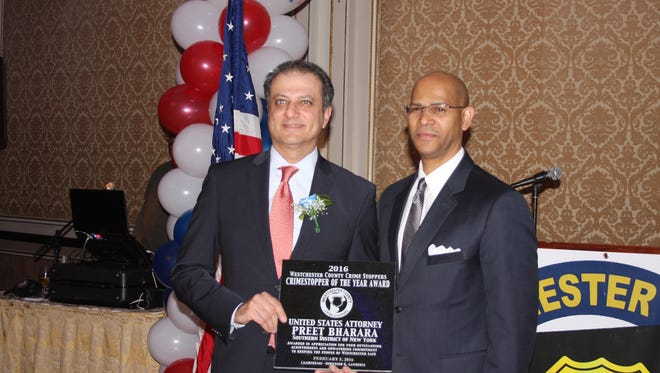 U.S. Attorney Preet Bharara was presented with the Crime Stopper of the Year award at the 5th annual Westchester County Crime Stoppers dinner at the VIP Club in New Rochelle on Friday, Feb. 5, 2016.