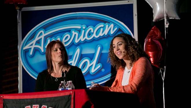 """Gianna Isabella Petrone, a contestant on """"American Idol,"""" is given a pep rally at Jackson Memorial High School on Tuesday, Feb. 9."""