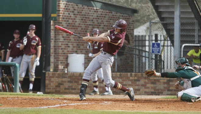 ULM's Nathan Pugh takes a swing during Sunday's game.