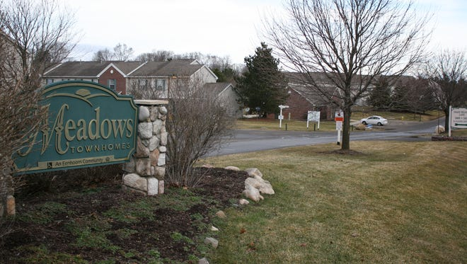 The Meadows Townhomes on East G Avenue in Kalamazoo County's Richland Township was the scene of the first of a string of three shootings Saturday night. The woman shot here multiple times is expected to survive.