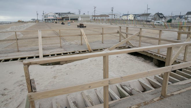 South end of the Seaside Hts boardwalk. Part of it has not been rebuilt since the fire—February 25, 2016-Seaside Hts, NJ.-Staff photographer/Bob Bielk/Asbury Park Press