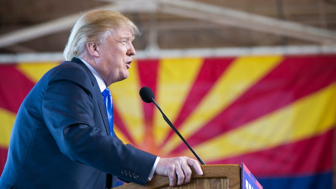 Republican Presidential candidate Donald Trump during a visit to Arizona.