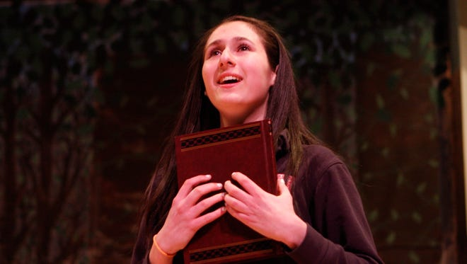 """Kayla Campise alternates in the role of Cinderella at a rehearsal for Kennedy Catholic High School's production of """"Rodgers & Hammerstein's Cinderella."""" Briarcliff is also staging the musical. Both faced restrictions on advertising."""