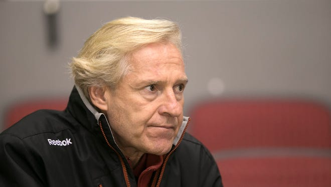 Don Maloney, Coyotes Executive Vice President, General Manager & Alternate Governor, watches a Coyotes practice at the Gila River Arena on Thursday, October 1, 2015.