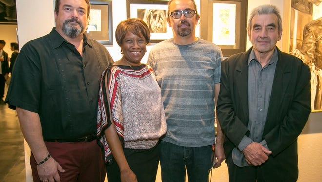 (left to right) Idyllwild Arts Board Chair Jeffrey  Dvorak, President of Idyllwild Arts Foundation Pamela Jordan, Chair of  Idyllwild's Visual Art Department Gerald Clarke, and David Reed-Marr,  Chair of Idyllwild's Arts Academy.