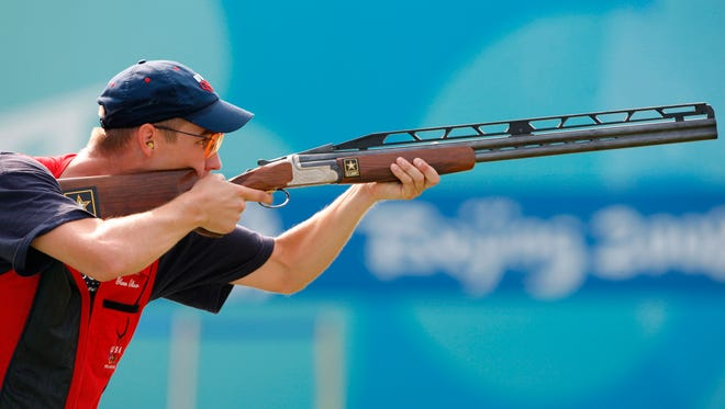 Glenn Eller aims for his last set as he wins the gold medal in the Men's double trap at the 2008 Olympics in Beijing.