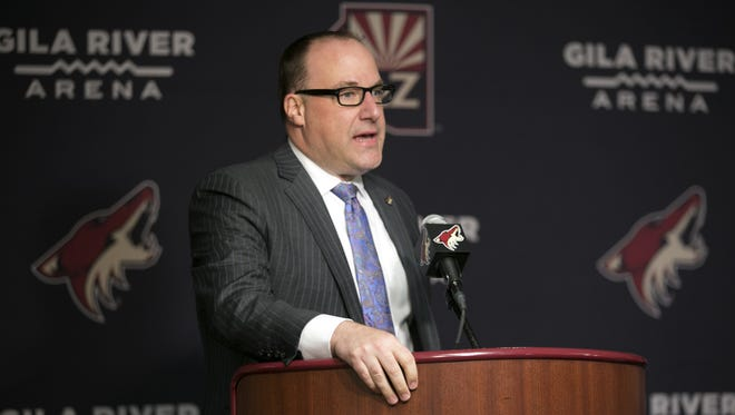 Coyotes co-Owner, President and CEO Anthony LeBlanc speaks during a press conference announcing the Coyotes' new general manager John Chayka at Gila River Arena in Glendale on Thursday, May 5, 2016. At 26, Chayka is the youngest general manager in NHL history.