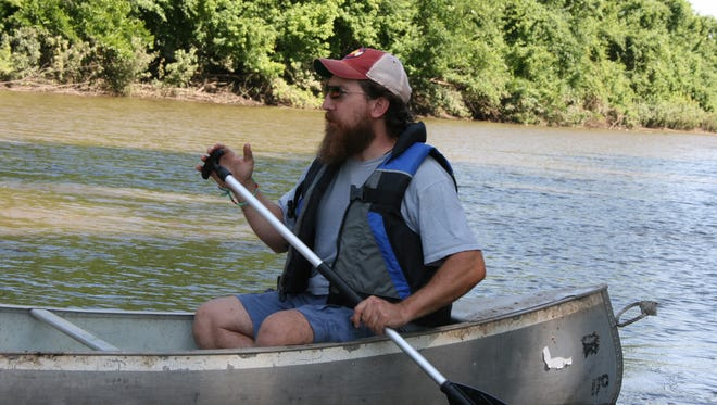 River guide Brett Dufur shares a spirit of adventure with explorers Meriwether Lewis and William Clark, of often quotes for the travelers' journals while guiding paddlers on Moniteau Creek and the Missouri River.