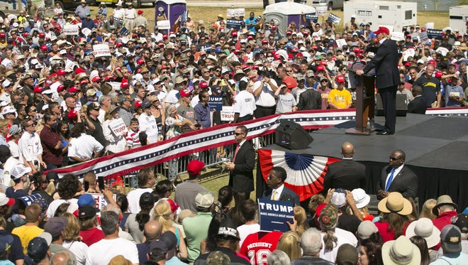 Republican Presidential candidate Donald Trump speaks during his March rally at Fountain Park. The DPS will be providing security for Trump's event June 17, 2016.