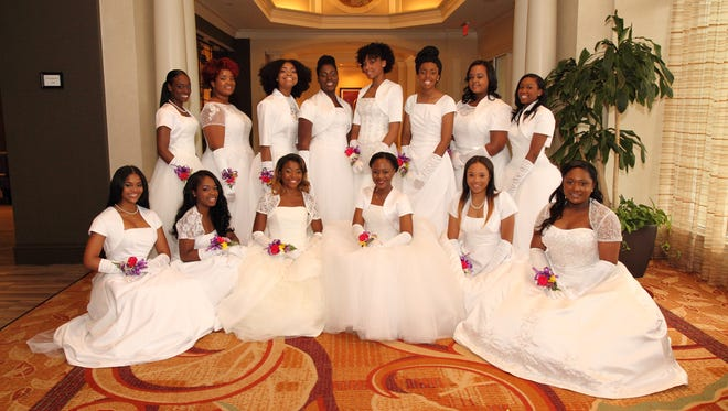 "The debutantes at the ""Silhouettes of Loveliness"" Debutante Cotillion."