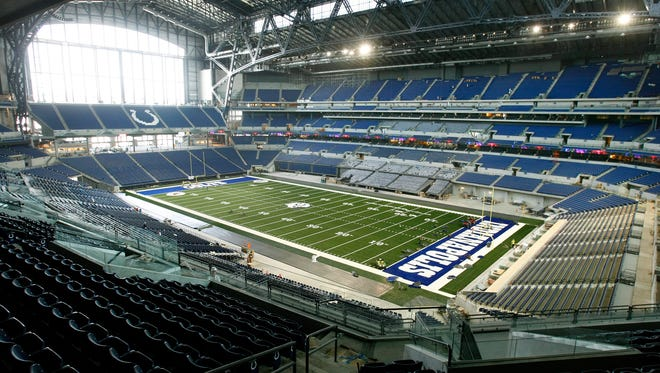 This was the last media tour of the new Lucas Oil Stadium in Indianapolis, IN before it opens in August. Here we photograph the stadium on Tuesday, July 15, 2008. (Sam Riche / The Star)