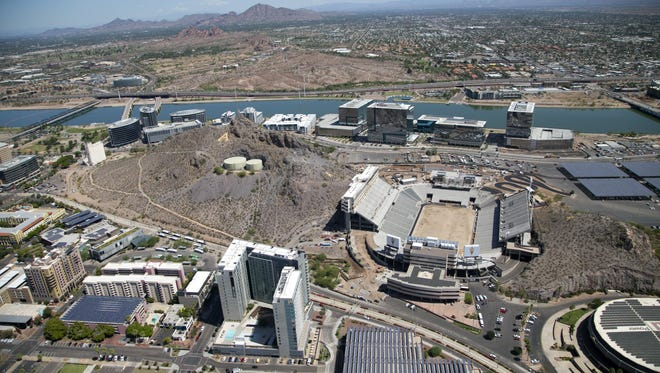 An aerial view of Sun Devil Stadium in Tempe is seen on July 21, 2016.