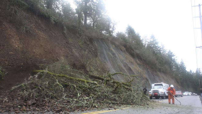 Crews are working to remove dangerous trees from a cliff above River Road S. Traffic is being detoured.
