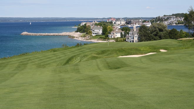 Boyne's Bay Harbor Links course, looking down Hole 3 on the approach to the green. Little Traverse Bay is to the left.