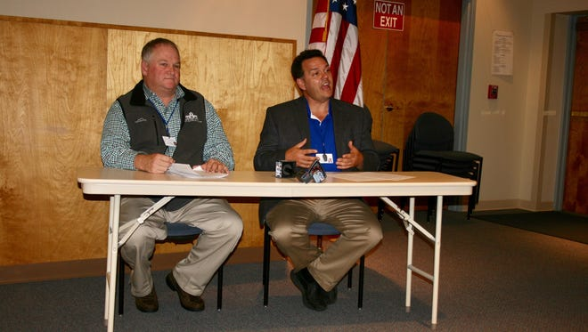 Michael Coghlan, Horseheads Central School District facilities director, and Superintendent Thomas Douglas address lead testing results at a news conference Friday.
