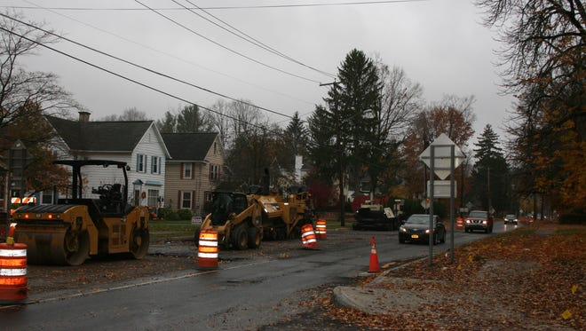 Construction continues on a stretch of West Water Street in Elmira. Crews are aiming for completion by the third week of November.