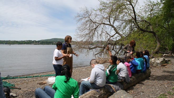 Students learn about water quality during a past event hosted by Scenic Hudson in Beacon.