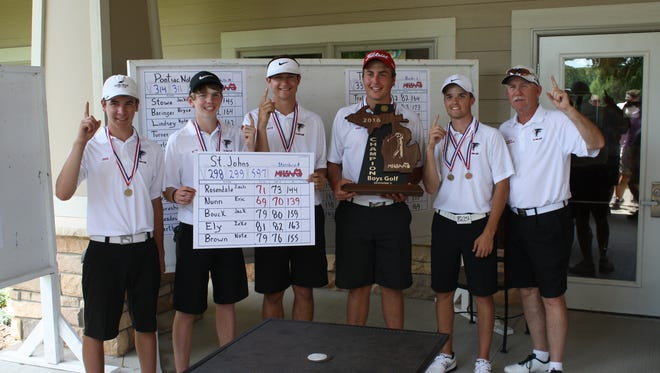 St. Johns boys golf is looking to defend its Division 2 state championship in 2017. From left are Zeke Ely, Nate Brown, Jack Bouck, Eric Nunn, Zach Rosendale and coach Paul Sternburgh.