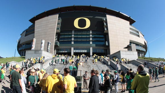 Sep 19, 2015; Eugene, OR, USA; Fans walking in to the stadium before the game Oregon Ducks and Georgia State Panthers at Autzen Stadium. Mandatory Credit: Scott Olmos-USA TODAY Sports