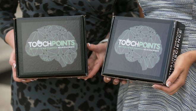 Neuropsychologist Dr. Amy Serin (left) and child advocate Vicki Mayo founded Touchpoint Solution, a company that produces non-invasive lifestyle wearables that relieve stress, anxiety and focus issues and enhance performance and sleep in Scottsdale.