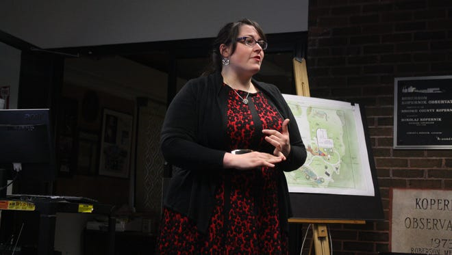 Gabrielle Wayman, of the Junior League, announces plans for Kopernik Science Park on May 30.