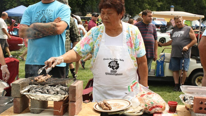 Celine Highes, 82, of Vestal, returns to the Spiedie Cooking Contest for her 30th year.