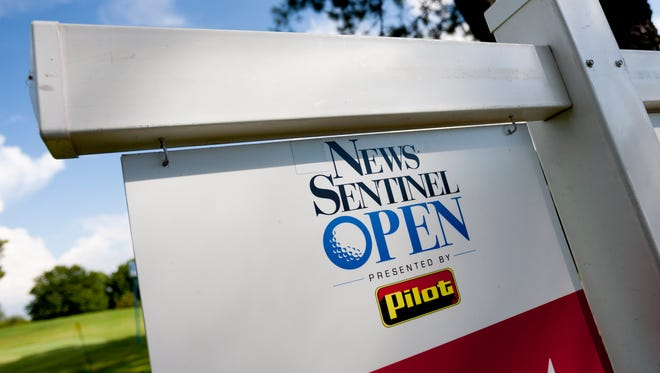 A sign depicting the News Sentinel Open logo at Fox Den Country Club in Knoxville, Tennessee on Thursday, August 17, 2017.
