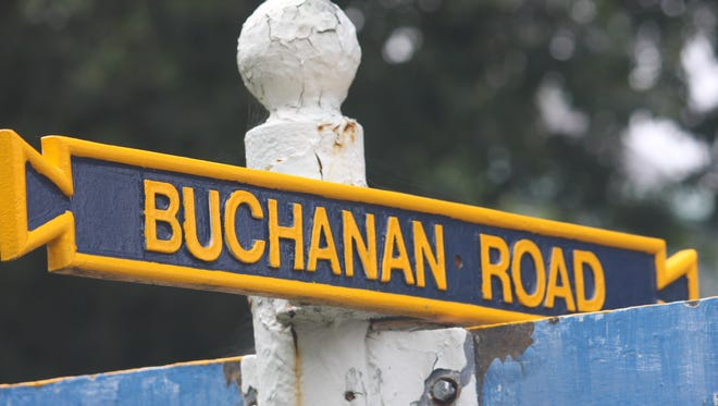 A road sign at the U.S. Naval Academy as photographed on Aug. 23, 2017 in Annapolis, Maryland, is named after Franklin Buchanan, the academy's first superintendent who left the U.S. Navy to join the Confederate Navy at the outbreak of the Civil War. A bill in Congress would require the Pentagon to change the name of any property that honors individuals who fought for or supported the Confederacy.